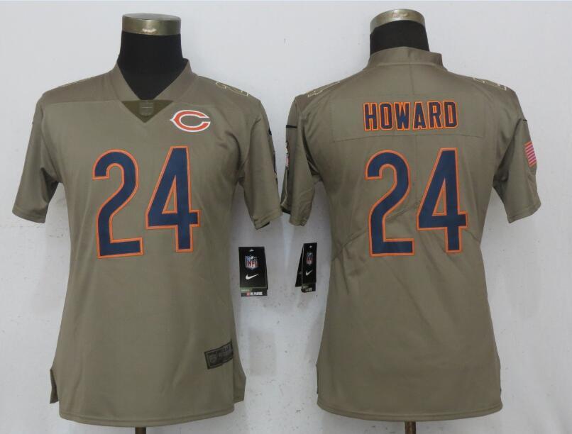 Nike Bears 24 Jordan Howard Olive Women Salute To Service Limited Jersey