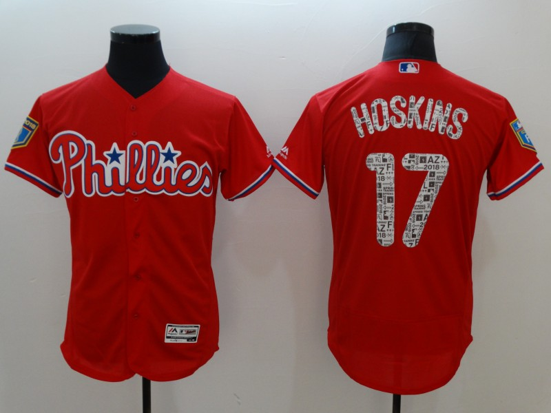 Phillies 17 Rhys Hoskins Red 2018 Spring Training Flexbase Jersey
