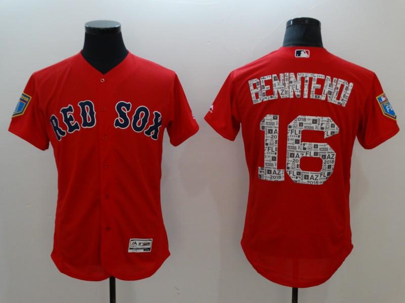 Red Sox 16 Andrew Benintendi Red 2018 Spring Training Flexbase Jersey