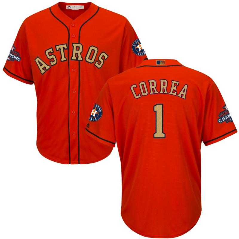 Astros 1 Carlos Correa Orange Youth 2018 Gold Program Cool Base Jersey