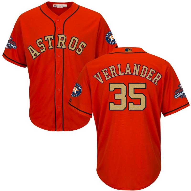 Astros 35 Justin Verlander Orange Youth 2018 Gold Program Cool Base Jersey