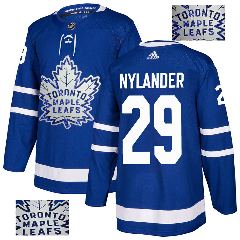 Maple Leafs 29 William Nylander Blue Glittery Edition Adidas Jersey