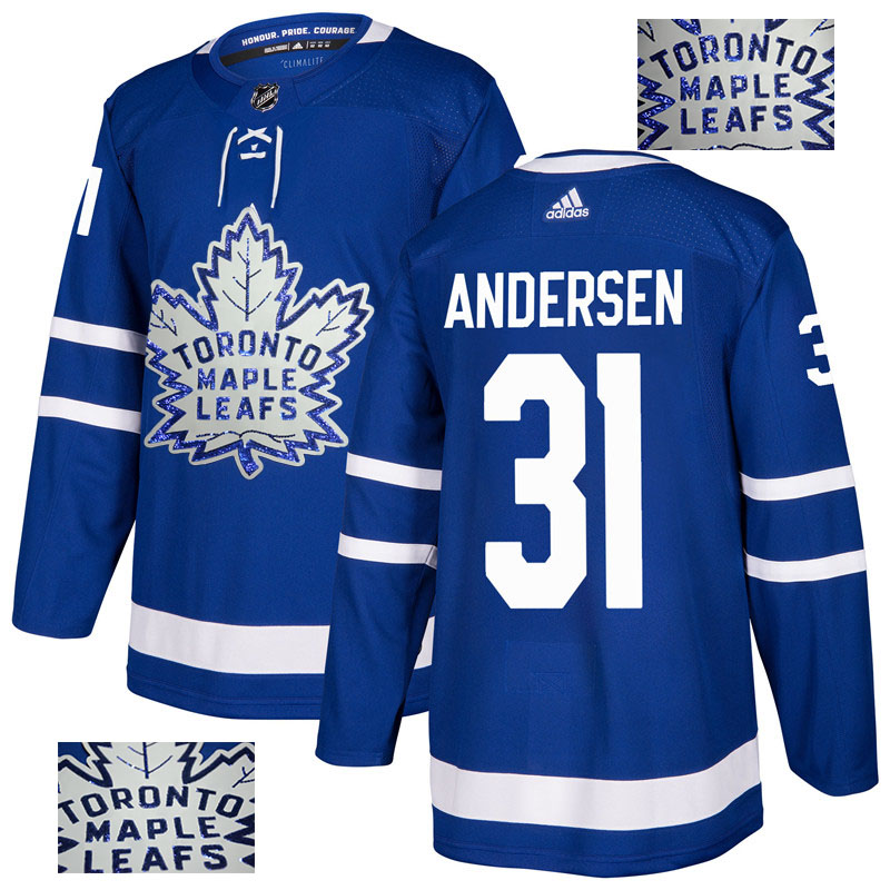 Maple Leafs 31 Frederik Andersen Blue Glittery Edition Adidas Jersey