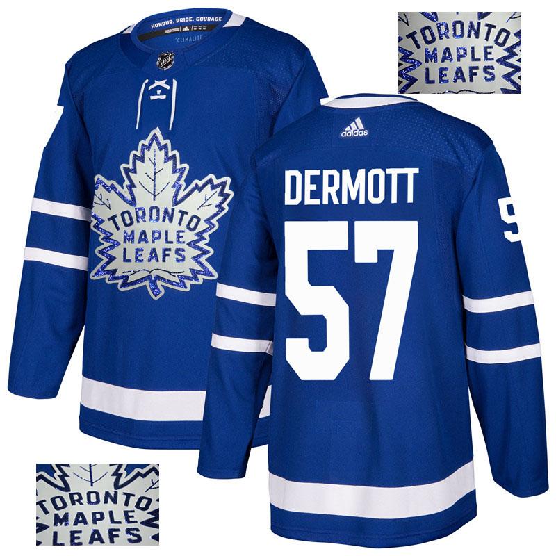 Maple Leafs 57 Travis Dermott Blue Glittery Edition Adidas Jersey
