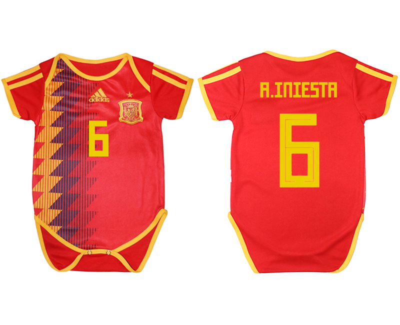 Espana 6 A. INIESTA Home Toddler 2018 FIFA World Cup Soccer Jersey