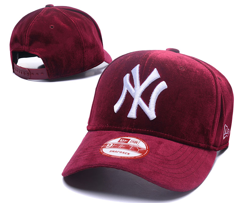 Yankees Team Logo Wine Peaked Adjustable Hat GS