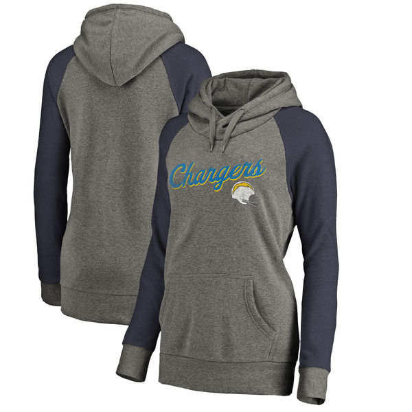 Los Angeles Chargers NFL Pro Line by Fanatics Branded Women's Timeless Collection Rising Script Plus Size Tri-Blend Hoodie Ash