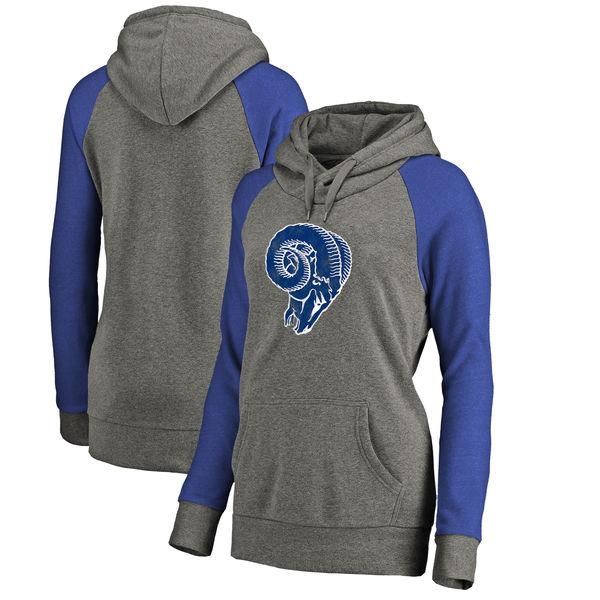 Los Angeles Rams NFL Pro Line by Fanatics Branded Women's Throwback Logo Tri-Blend Raglan Plus Size Pullover Hoodie Gray/Royal