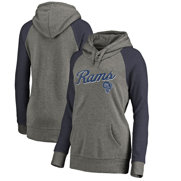 Los Angeles Rams NFL Pro Line by Fanatics Branded Women's Timeless Collection Rising Script Plus Size Tri-Blend Hoodie Ash