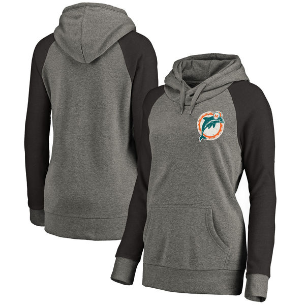 Miami Dolphins NFL Pro Line by Fanatics Branded Women's Plus Sizes Vintage Lounge Pullover Hoodie Heathered Gray