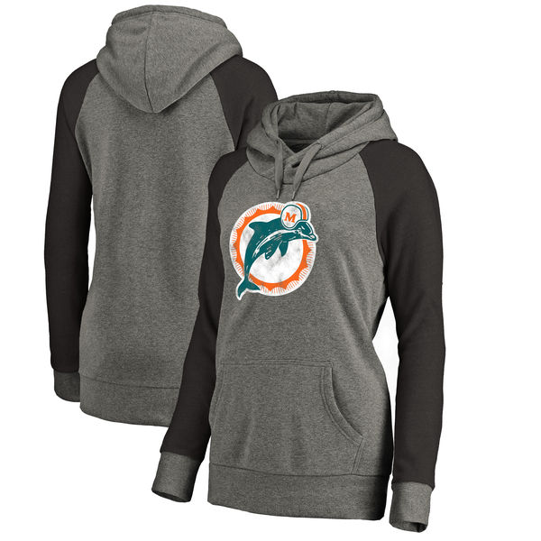 Miami Dolphins NFL Pro Line by Fanatics Branded Women's Throwback Logo Tri-Blend Raglan Plus Size Pullover Hoodie Gray/Black
