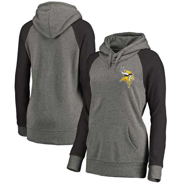 Minnesota Vikings NFL Pro Line by Fanatics Branded Women's Plus Sizes Vintage Lounge Pullover Hoodie Heathered Gray