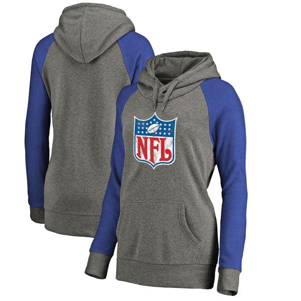 NFL Shield NFL Pro Line by Fanatics Branded Women's Throwback Logo Tri-Blend Raglan Plus Size Pullover Hoodie Heather Gray/Royal