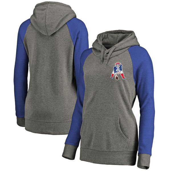 New England Patriots NFL Pro Line by Fanatics Branded Women's Plus Sizes Vintage Lounge Pullover Hoodie Heathered Gray