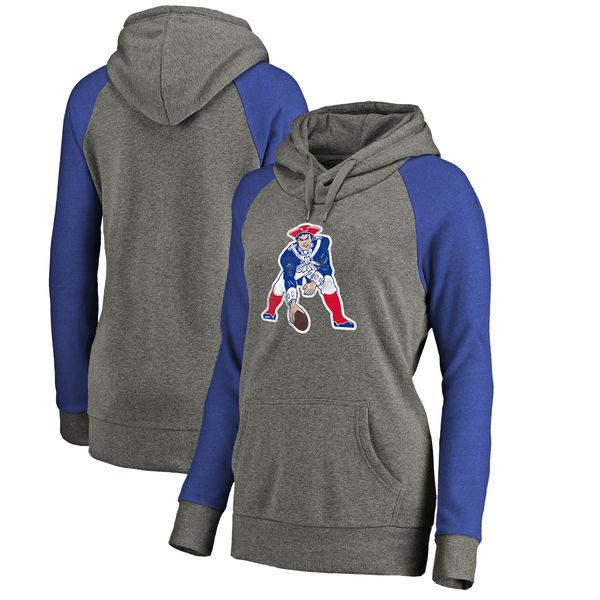 New England Patriots NFL Pro Line by Fanatics Branded Women's Throwback Logo Tri-Blend Raglan Plus Size Pullover Hoodie Gray/Royal