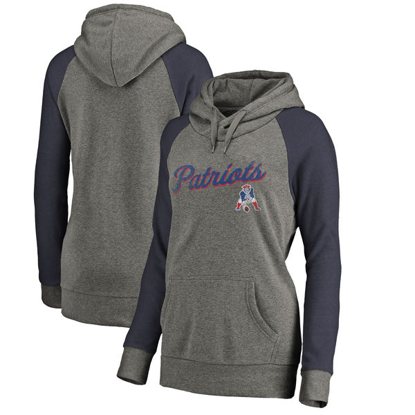 New England Patriots NFL Pro Line by Fanatics Branded Women's Timeless Collection Rising Script Plus Size Tri-Blend Hoodie Ash