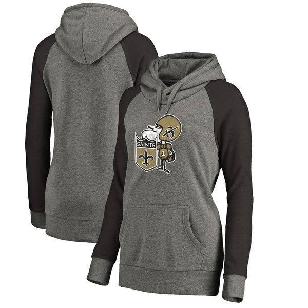 New Orleans Saints NFL Pro Line by Fanatics Branded Women's Throwback Logo Tri-Blend Raglan Plus Size Pullover Hoodie Gray/Black