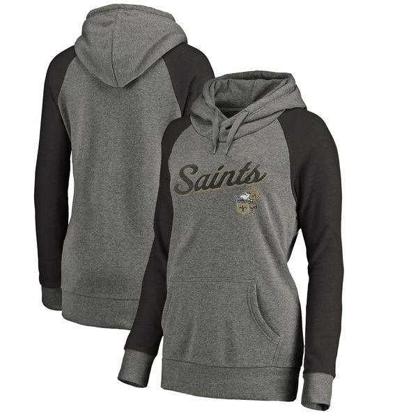 New Orleans Saints NFL Pro Line by Fanatics Branded Women's Timeless Collection Rising Script Plus Size Tri-Blend Hoodie Ash