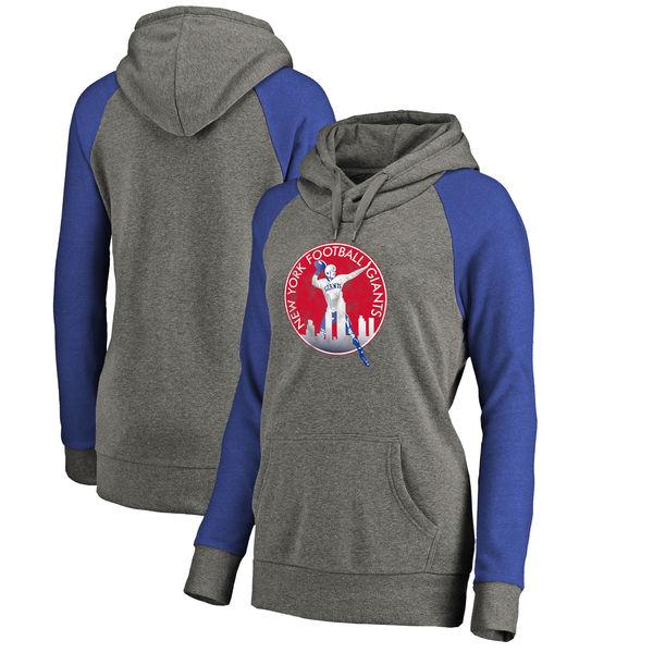 New York Giants NFL Pro Line by Fanatics Branded Women's Throwback Logo Tri-Blend Raglan Plus Size Pullover Hoodie Gray/Royal