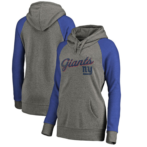 New York Giants NFL Pro Line by Fanatics Branded Women's Timeless Collection Rising Script Plus Size Tri-Blend Hoodie Ash