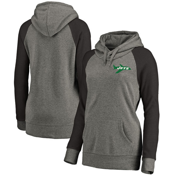 New York Jets NFL Pro Line by Fanatics Branded Women's Plus Sizes Vintage Lounge Pullover Hoodie Heathered Gray