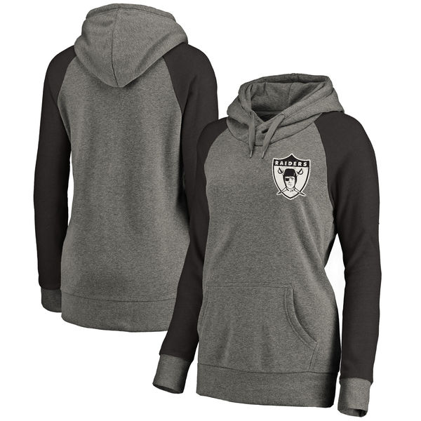 Oakland Raiders NFL Pro Line by Fanatics Branded Women's Plus Sizes Vintage Lounge Pullover Hoodie Heathered Gray