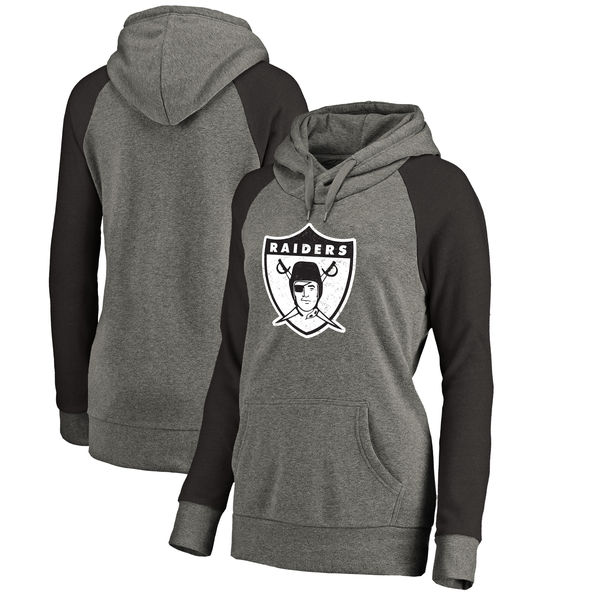 Oakland Raiders NFL Pro Line by Fanatics Branded Women's Throwback Logo Tri-Blend Raglan Plus Size Pullover Hoodie Gray/Black