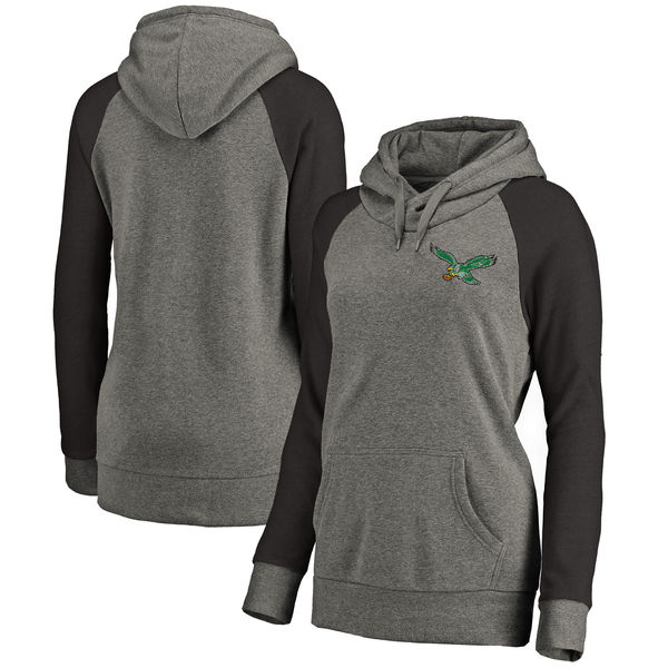 Philadelphia Eagles NFL Pro Line by Fanatics Branded Women's Plus Sizes Vintage Lounge Pullover Hoodie Heathered Gray