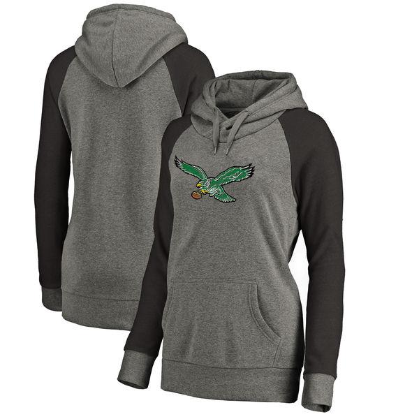 Philadelphia Eagles NFL Pro Line by Fanatics Branded Women's Throwback Logo Tri-Blend Raglan Plus Size Pullover Hoodie Gray/Black