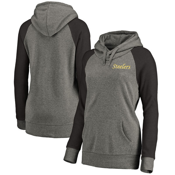 Pittsburgh Steelers NFL Pro Line by Fanatics Branded Women's Plus Sizes Vintage Lounge Pullover Hoodie Heathered Gray