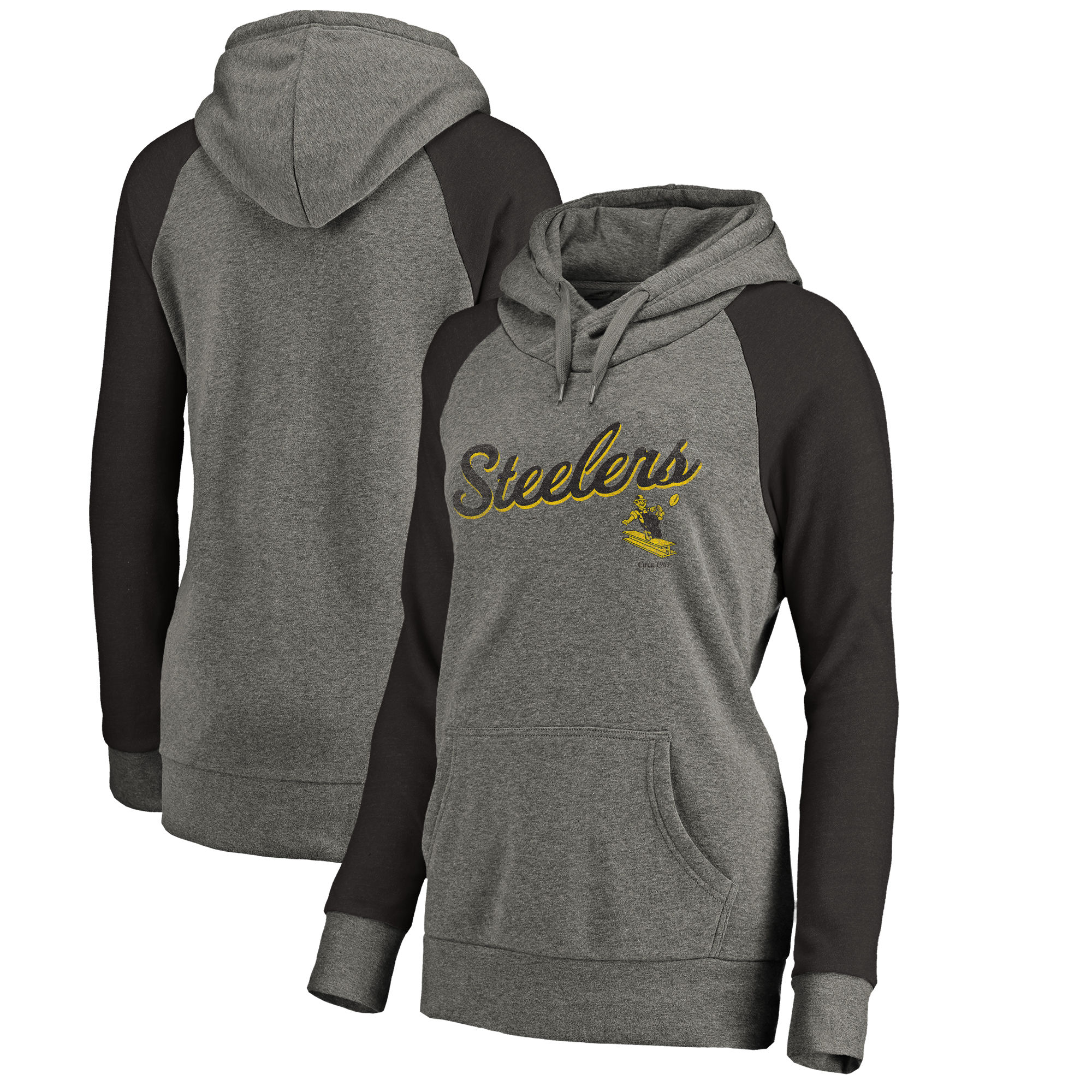 Pittsburgh Steelers NFL Pro Line by Fanatics Branded Women's Timeless Collection Rising Script Plus Size Tri-Blend Hoodie Ash
