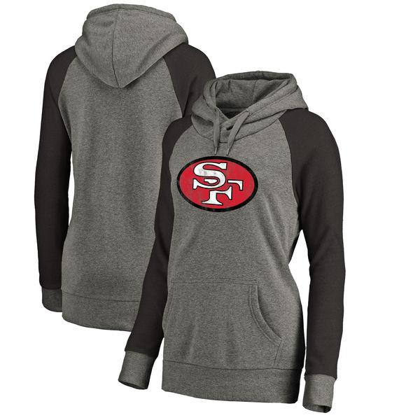 San Francisco 49ers NFL Pro Line by Fanatics Branded Women's Throwback Logo Tri-Blend Raglan Plus Size Pullover Hoodie Gray/Black