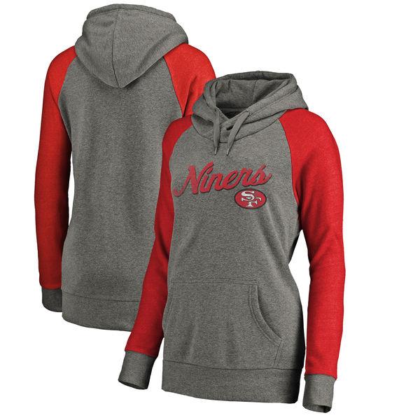 San Francisco 49ers NFL Pro Line by Fanatics Branded Women's Timeless Collection Rising Script Plus Size Tri-Blend Hoodie Ash
