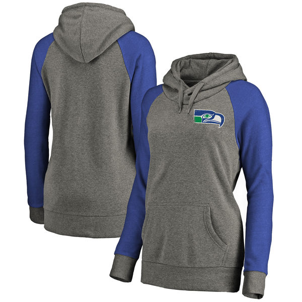 Seattle Seahawks NFL Pro Line by Fanatics Branded Women's Plus Sizes Vintage Lounge Pullover Hoodie Heathered Gray