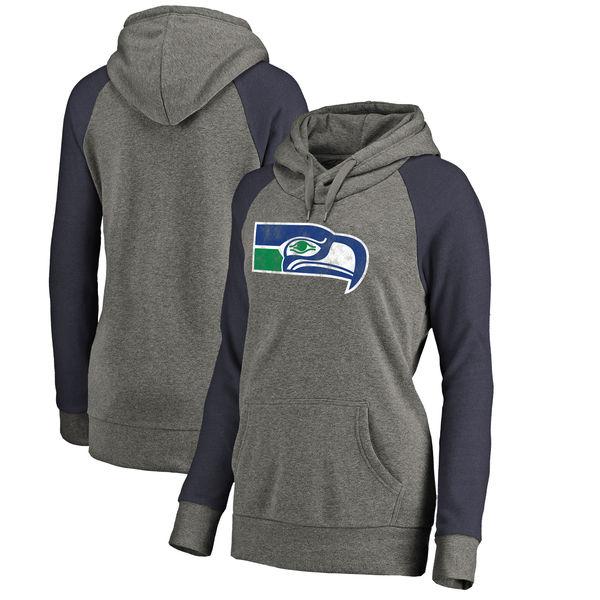 Seattle Seahawks NFL Pro Line by Fanatics Branded Women's Throwback Logo Tri-Blend Raglan Plus Size Pullover Hoodie Gray/Navy