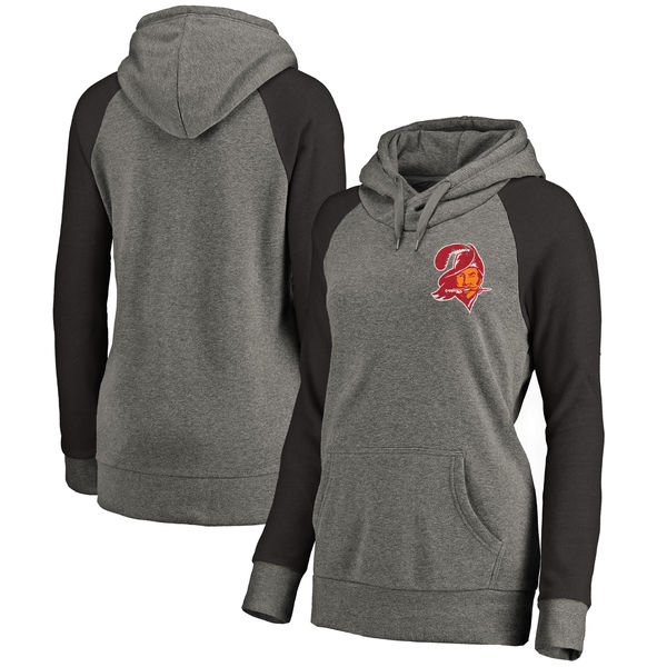 Tampa Bay Buccaneers NFL Pro Line by Fanatics Branded Women's Plus Sizes Vintage Lounge Pullover Hoodie Heathered Gray