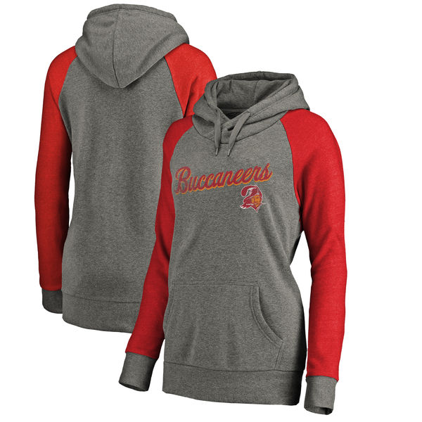 Tampa Bay Buccaneers NFL Pro Line by Fanatics Branded Women's Timeless Collection Rising Script Plus Size Tri-Blend Hoodie Ash