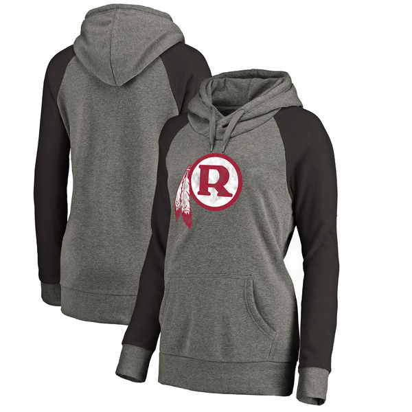 Washington Redskins NFL Pro Line by Fanatics Branded Women's Throwback Logo Tri-Blend Raglan Plus Size Pullover Hoodie Gray/Black