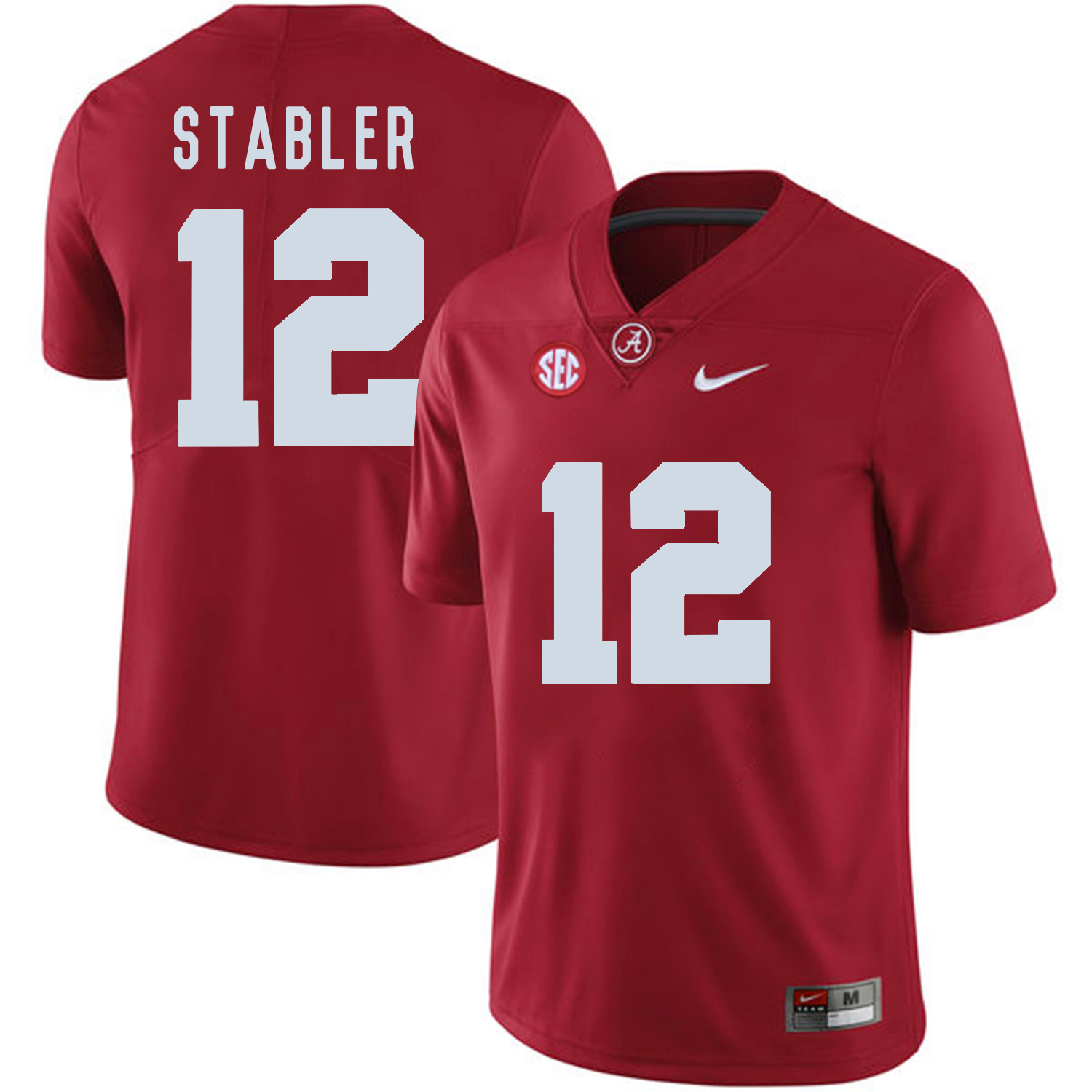 Alabama Crimson Tide 12 Ken Stabler Red College Football Jersey