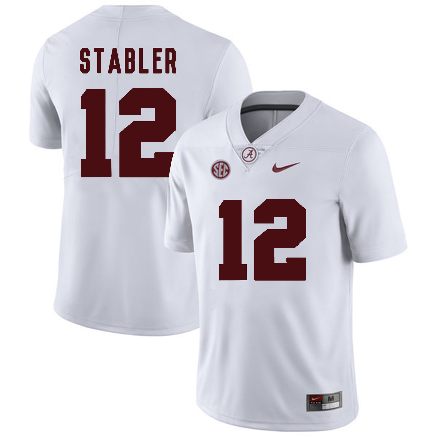 Alabama Crimson Tide 12 Ken Stabler White College Football Jersey