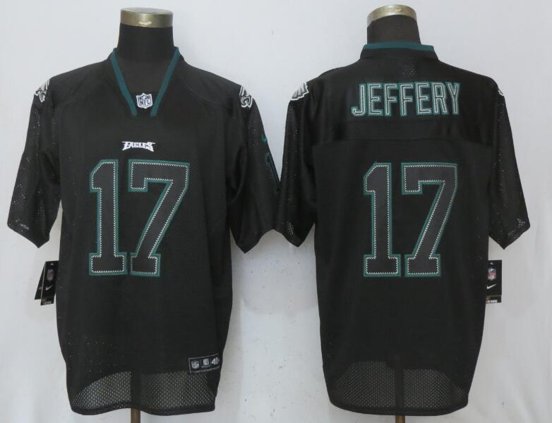 Nike Eagles 17 Alshon Jeffery Black Lights Out Elite Jersey