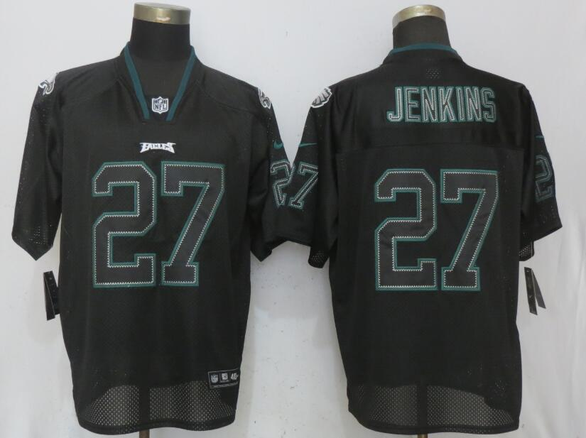 Nike Eagles 27 Malcolm Jenkins Black Lights Out Elite Jersey