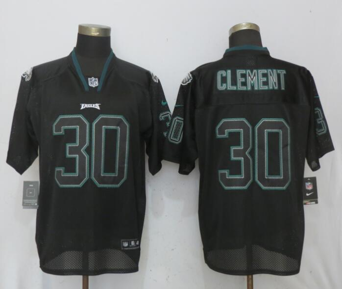 Nike Eagles 30 Corey Clement Black Lights Out Elite Jersey