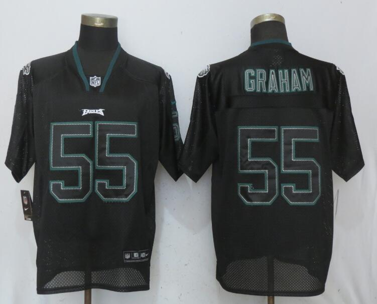 Nike Eagles 55 Brandon Graham Black Lights Out Elite Jersey