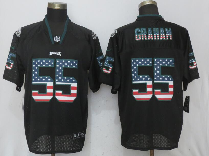 Nike Eagles 55 Brandon Graham Black USA Flag Elite Jersey