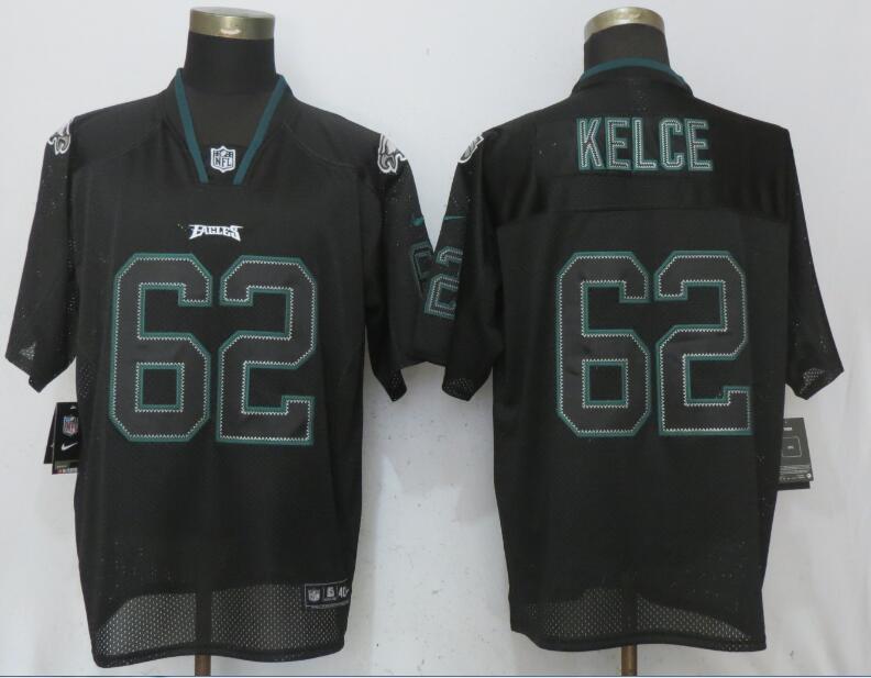 Nike Eagles 62 Jason Kelce Black Lights Out Elite Jersey