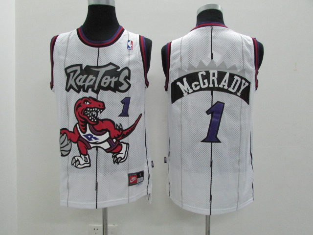Raptors 1 Tracy McGrady White Hardwood Classics Jersey