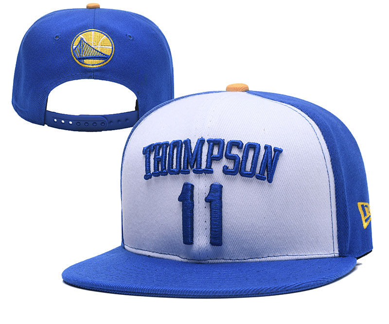 Warriors 11 Klay Thompson White Name & Number Adjustable Hat YD