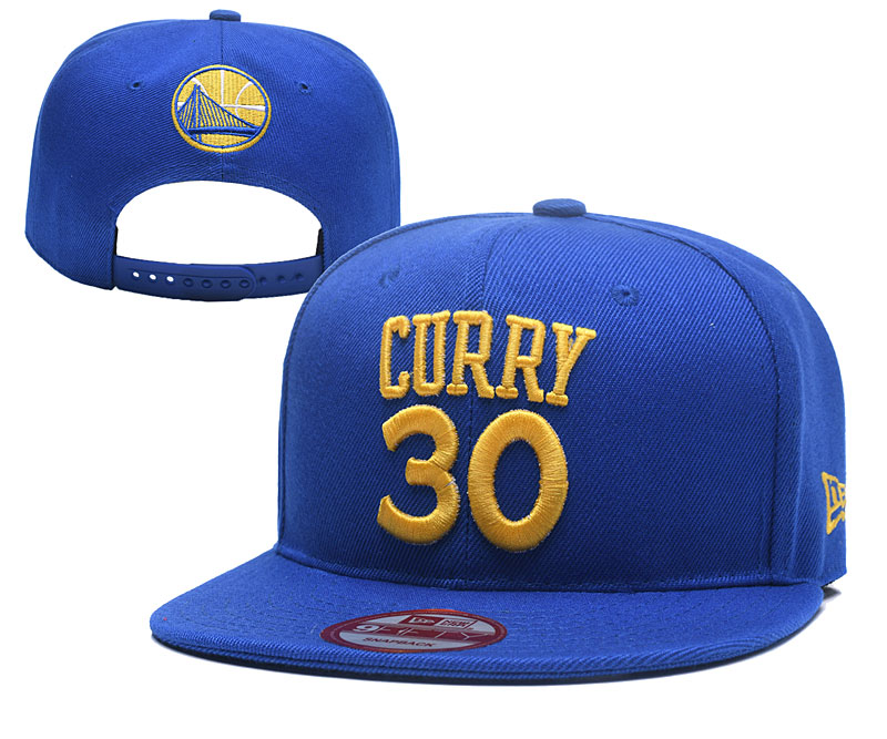Warriors 30 Stephen Curry Blue Name & Number Adjustable Hat YD
