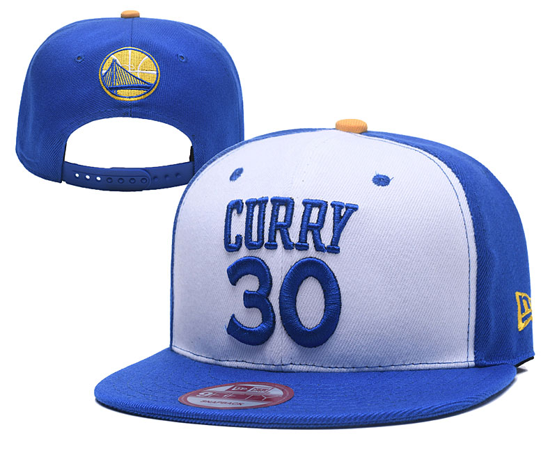 Warriors 30 Stephen Curry White Name & Number Adjustable Hat YD